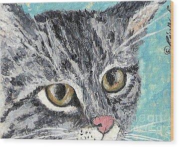 Tiger Cat Wood Print by Reina Resto