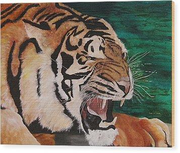 Tiger Paw Wood Print by Shahid Muqaddim