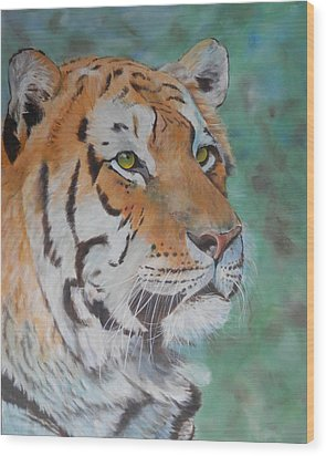 Tiger Portrait Wood Print