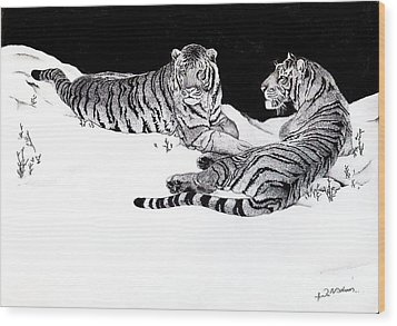Tigers In The Snow Wood Print by Hari Mohan