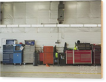 Tool Chests In An Automobile Repair Shop Wood Print by Don Mason
