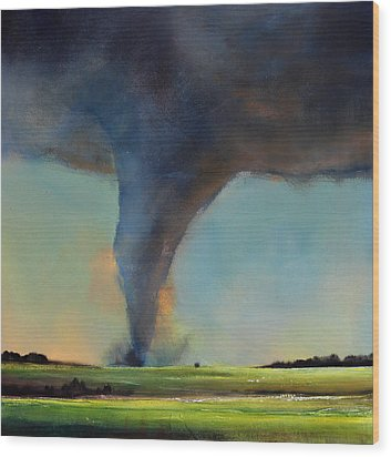Tornado On The Move Wood Print by Toni Grote
