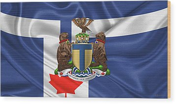 Toronto - Coat Of Arms Over City Of Toronto Flag  Wood Print by Serge Averbukh