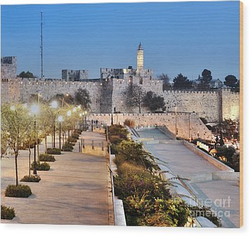 Tower Of David Wood Print by Noam Armonn