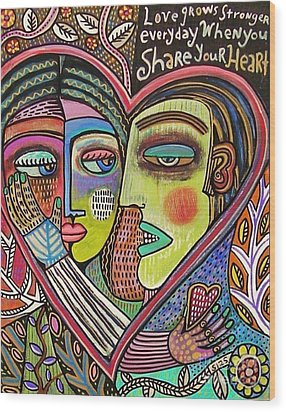 Tree Of Life Heart Lovers Wood Print by Sandra Silberzweig