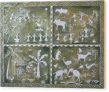 Tribal Art Wood Print by Geeta Biswas