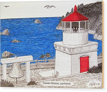Trinidad Memorial Lighthouse Wood Print by Frederic Kohli