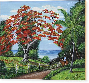 Tropical Landscape Wood Print by Luis F Rodriguez