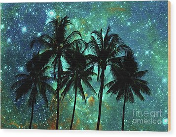 Wood Print featuring the photograph Tropical Night by Delphimages Photo Creations