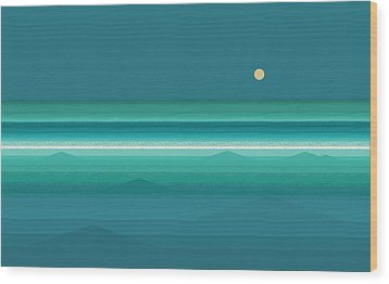 Wood Print featuring the digital art Tropical Sea Moonrise by Val Arie