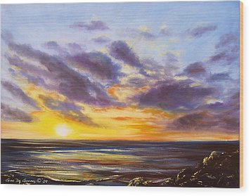 Tropical Sunset Wood Print by Gina De Gorna