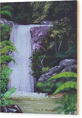 Tropical Waterfall Wood Print by Luis F Rodriguez