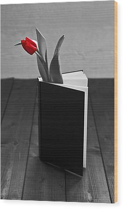 Tulip In A Book Wood Print by Joana Kruse