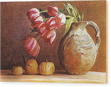 Tulips And Squash Wood Print by David Lloyd Glover