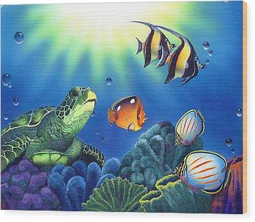 Turtle Dreams Wood Print by Angie Hamlin