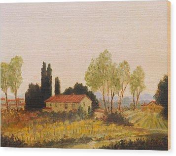 Tuscan Farmland Wood Print by David Olander