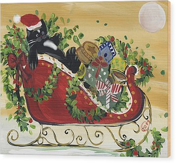 Tuxedo Santa Claus  Cat Wood Print by Sylvia Pimental