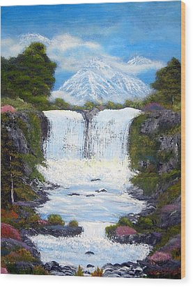 Twin Falls Wood Print by Allison Prior