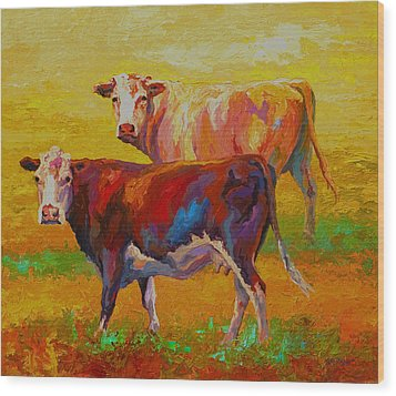 Two Cows Wood Print by Marion Rose