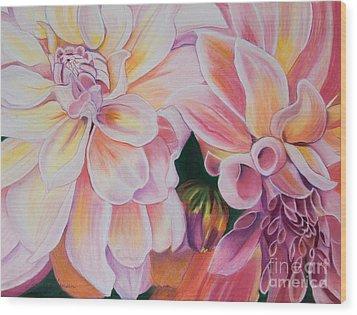 Two Dahlias Wood Print by Lucinda  Hansen