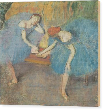 Two Dancers At Rest Wood Print by Edgar Degas