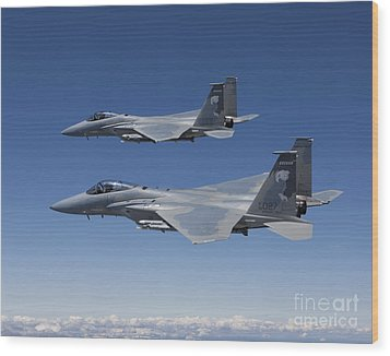 Two F-15 Eagles Conduct Air-to-air Wood Print by HIGH-G Productions