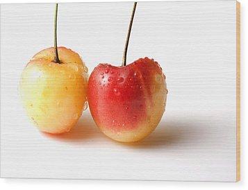 Two Rainier Cherries Wood Print by Blink Images