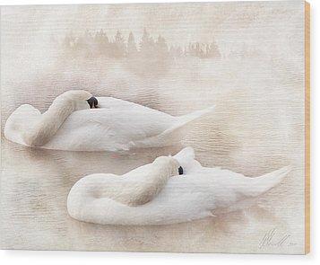 Two Swans Wood Print by Svetlana Sewell