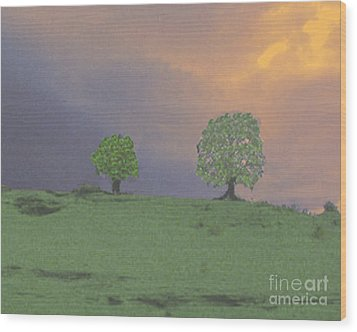 Two Trees On A Hill Wood Print by Merton Allen