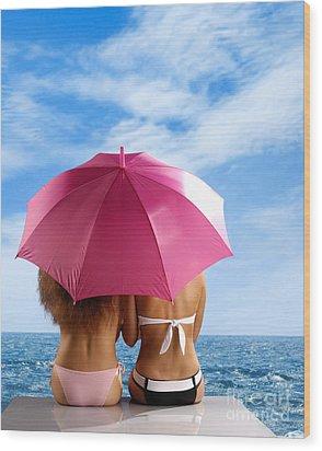 Two Women Relaxing On A Shore Wood Print by Oleksiy Maksymenko