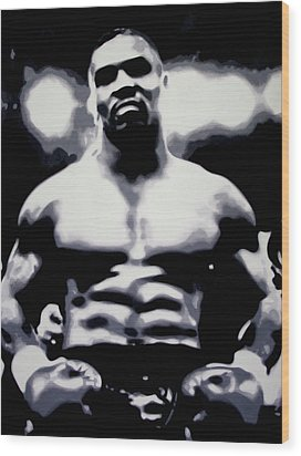 Tyson Wood Print by Luis Ludzska