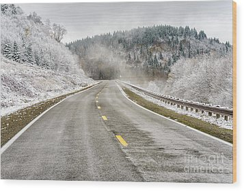 Wood Print featuring the photograph Unexpected Autumn Snow Highland Scenic Highway by Thomas R Fletcher