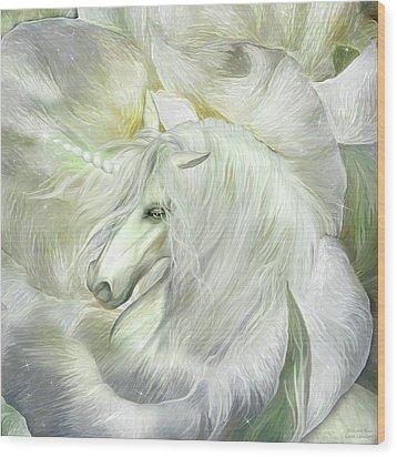 Wood Print featuring the mixed media Unicorn Rose by Carol Cavalaris