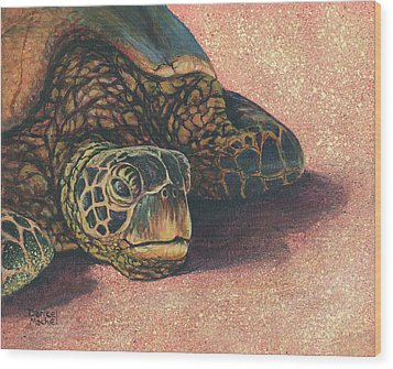 Wood Print featuring the painting Honu At Rest by Darice Machel McGuire