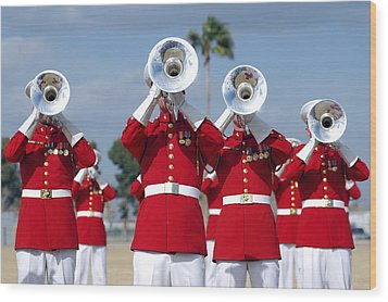 U.s. Marine Corps Drum And Bugle Corps Wood Print by Stocktrek Images