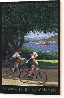 Vancouver Bike Ride Poster Wood Print by Neil Woodward