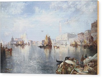 Venetian Grand Canal Wood Print by Thomas Moran