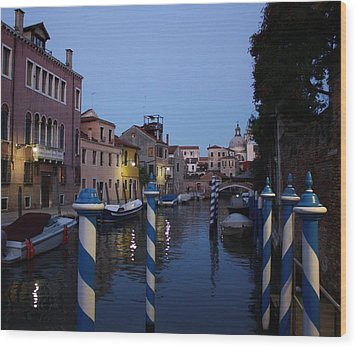 Venice At Night Wood Print by Pat Purdy