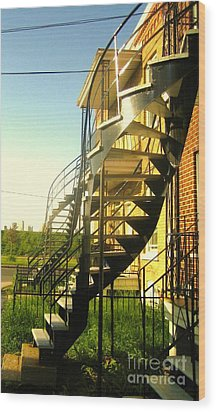 Verdun Stairs Wood Print by Reb Frost