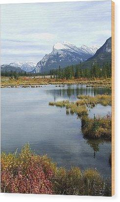 Vermillion Lakes Wood Print by Tiffany Vest