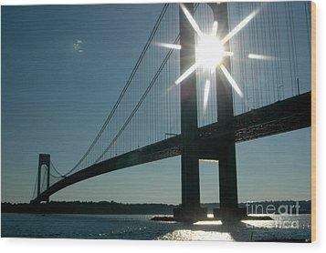 Verrazano Bridge Starburst Wood Print