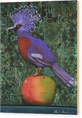Victoria Crowned Pigeon On A Mango Wood Print by Leah Saulnier The Painting Maniac