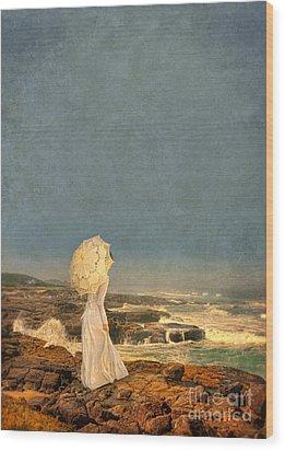 Victorian Lady By The Sea Wood Print by Jill Battaglia