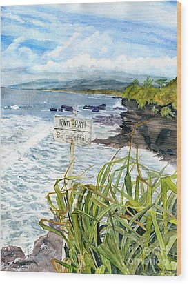Wood Print featuring the painting View From Tanah Lot Bali Indonesia by Melly Terpening
