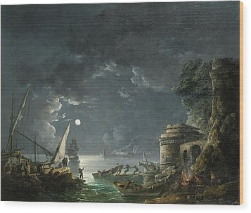 Wood Print featuring the painting View Of A Moonlit Mediterranean Harbor by Carlo Bonavia