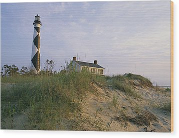View Of Cape Lookout Lighthouse Wood Print by Stephen Alvarez