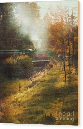 Vintage Diesel Locomotive Wood Print by Jill Battaglia
