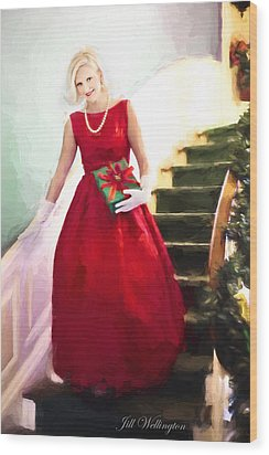 Vintage Val Home For The Holidays Wood Print