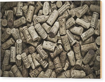 Vintage Wine Corks Wood Print by Frank Tschakert