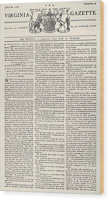 Virginia Gazette, 1776 Wood Print by Granger